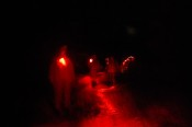 The night hikers used night vision, and special red lights when necessary, on this fall excursion led by environmental educator Alexandra Meyer.