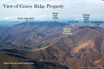 Contextual aerial photo of the Grassy Ridge tract, showing publicly accessible points in the landscape. Flight provided by Southwings.