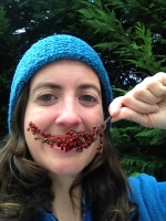 Margot Wallston, SAHC Americorps Stewardship Associate, gives a sumac smile on the trail in the Rough Creek Watershed